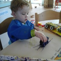 Mark making with trains